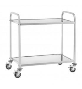 Chariot de stockage et d'inventaire avec 2 étagères de rangement